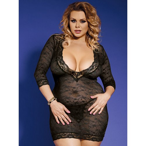 Bondara Belle Plus Size Sleeved Dress and G-String