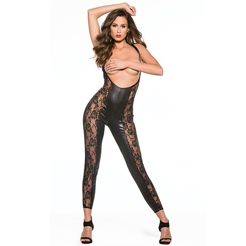 Kitten Lace and Wet Look Reversible Cupless Catsuit - Bondara