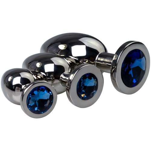 Blue Jewelled Stainless Steel Butt Plug - Bondara
