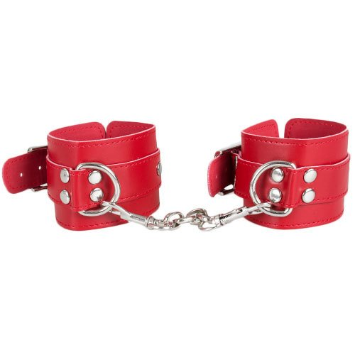 Bondara Red Faux Leather Basic Wrist Cuffs