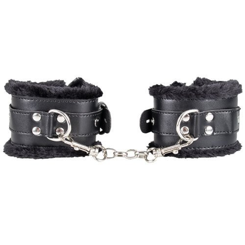 Bondara Faux Leather Furry Padlocked Wrist Cuffs