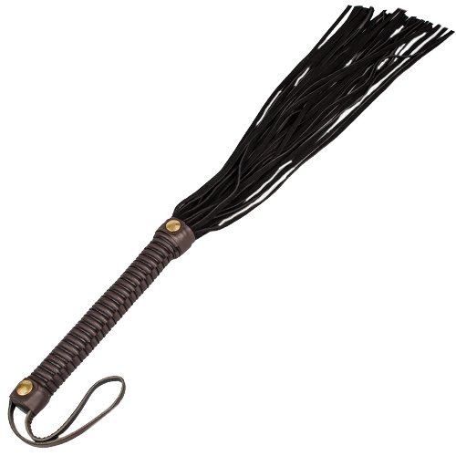 Bondara Luxe Brown and Black Suede Leather Flogger - 26 Inch