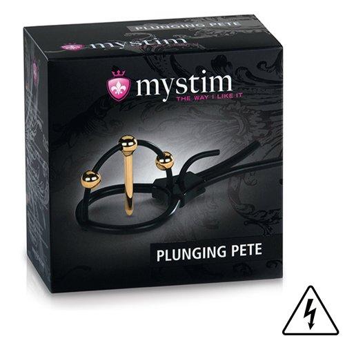 MyStim Plunging Pete Electro Sex Corona Glans Strap with Penis Plug - Bondara