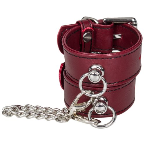 Bondara Red Faux Leather Slim Wrist Cuffs