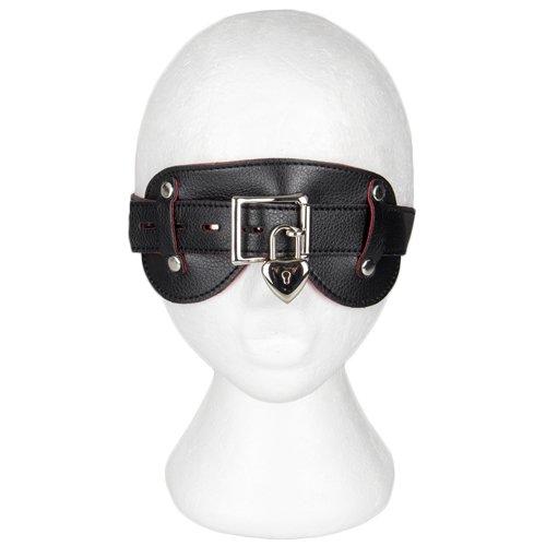 Bondara Faux Leather and Suede Padlocked Blindfold