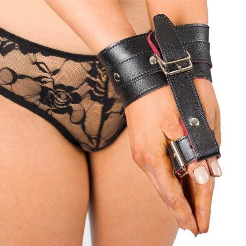 Bondara Black Faux Leather Red Suede Wrist to Thumb Restraint