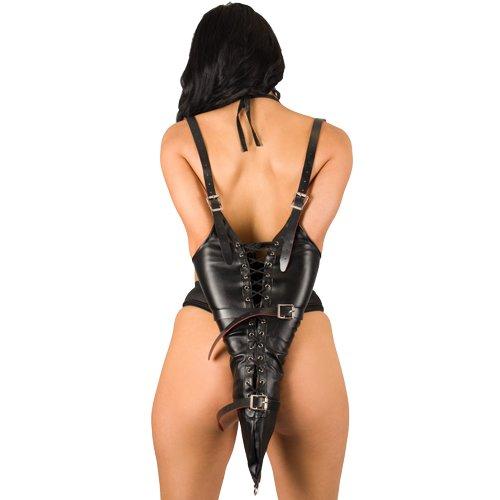 Bondara Black Faux Leather Red Suede Arm Binder Restraint
