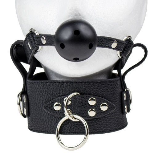 Bondara Black Posture Collar with Vented Ball Gag - Bondara