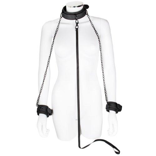 Bondara Matte Black Collar Leash and Handcuffs - Bondara