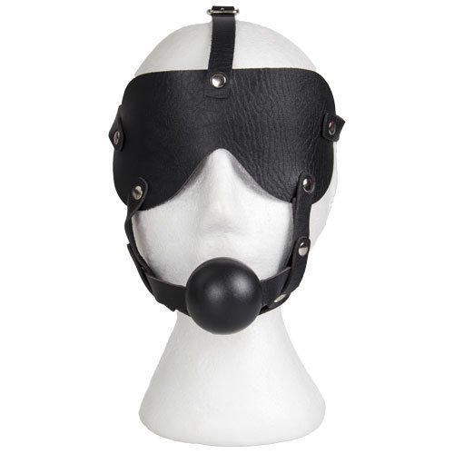 Bondara Faux Leather Blindfold and Ball Gag Harness - Bondara