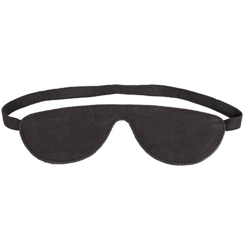 Obey Black Nubuck Leather Blindfold - Bondara