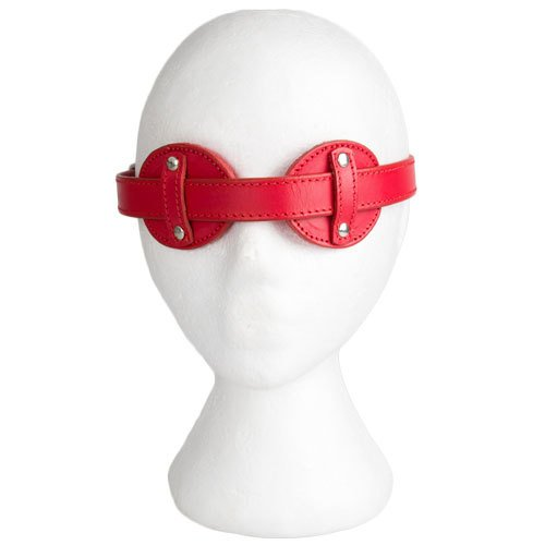 Obey Red Saddle Leather Adjustable Blindfold - Bondara