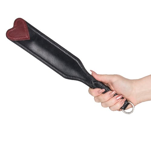 Lair Red and Black Leather Heart Slim Paddle – 12 Inch - Bondara