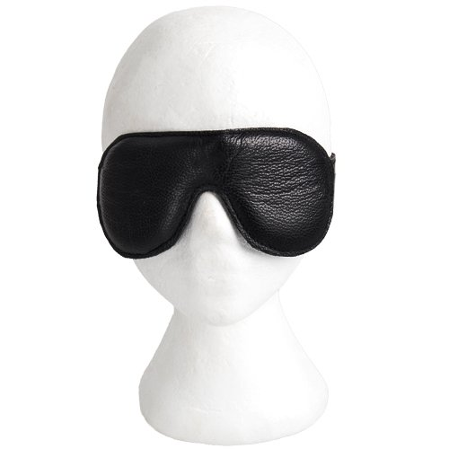 Lair Black Soft Leather Padded Blindfold - Bondara