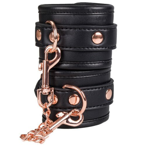 Bondara  Bound Black Faux Leather Wrist Cuffs