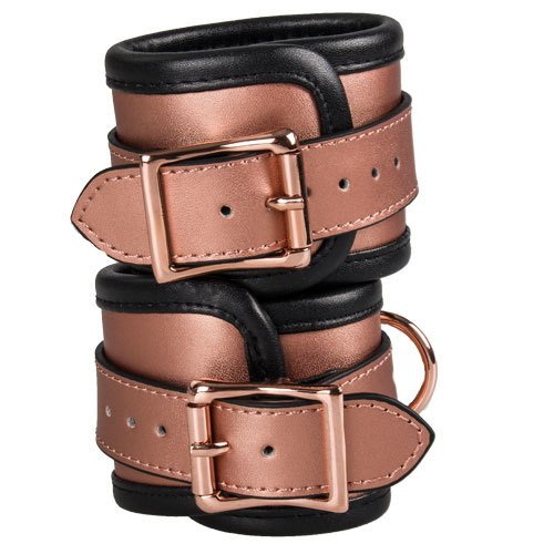 Bondara Luxe Rose Gold Real Leather Ankle Cuffs