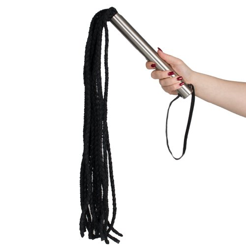 Leather Braided Flogger Whip in Red or Black - 31 Inch