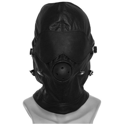 Black Leather Bondage Hood with Ball Gag - Bondara