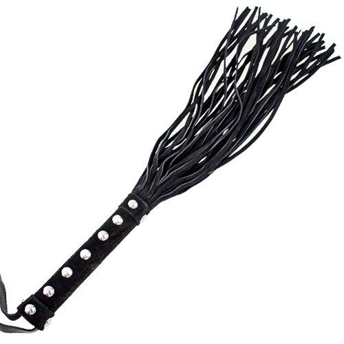 """Deluxe Black Suede 16"""" Flogger Whip - Bondara"""