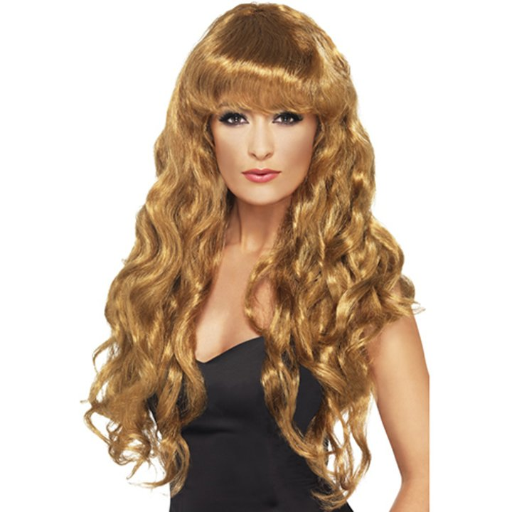 Glamorous Long Brown Curly Full Fringe Wig