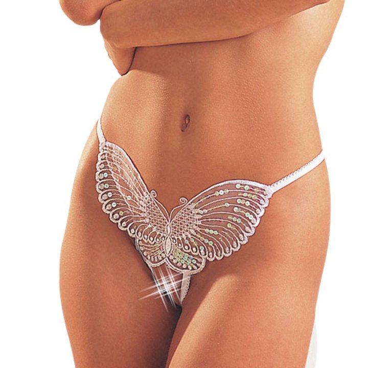 Mandy Mystery White Butterfly Sequin Open G-String