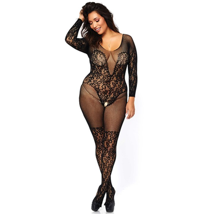 Leg Avenue Plus Size Fishnet and Lace Crotchless Bodystocking