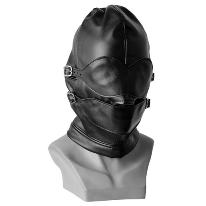Bondage Gimp Hood With Detachable Mask, Chin Strap & Ball Gag