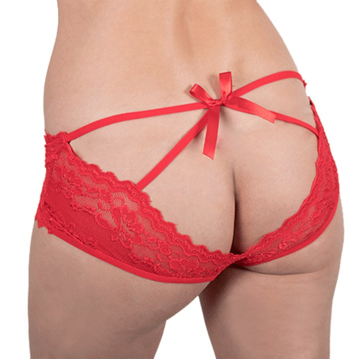 Bondara Flirt Red Open Back Bow Knicker