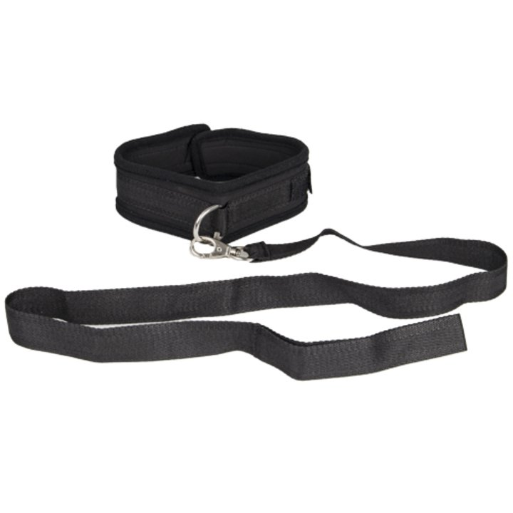 Bondara Black Soft Velcro Collar With Leash