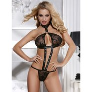 Bondara Leather Look and Lace Teddy