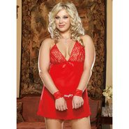 Plus Size Dreamgirl Naughty Red Halter Babydoll with Wrist Restraints