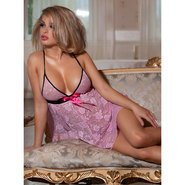 Bondara Pink and Lacy Open Back Babydoll
