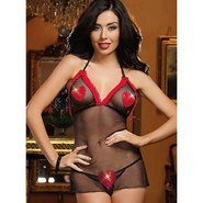 Dreamgirl Backless Fishnet Valentine Heart Babydoll