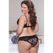 Seven Til Midnight Plus Size Satin and Lace Open Crotch Bikini Knickers in Black