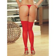 Dreamgirl Plus Size Moulin Seamed Hold Ups in Red