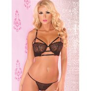 Pink Lipstick Black Lace Caged Bra Set