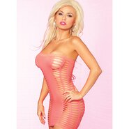 Pink Lipstick Pink Slashed Strapless Dress