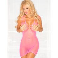 Pink Lipstick Pink Fishnet Plunge Bar Dress