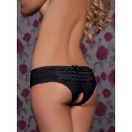 Seven Til Midnight Black Lace Crotchless Boyshort with Ruffles