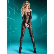 Livia Corsetti Black Off-the-Shoulder Crotchless Bodystocking