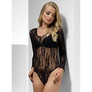 Black Lace Long Sleeve Body