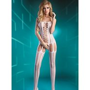 Livia Corsetti Almas White Striped Suspender Bodystocking