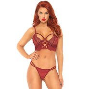 Leg Avenue Red Lace Caged Longline Bra and G-String