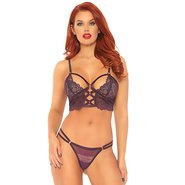 Leg Avenue Purple Lace Caged Longline Bra and G-String