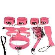 Super Soft Luxury Faux Leather 7 Piece Bondage Set In Pink