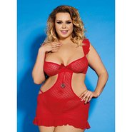 Bondara Plus Size Red Cut Out Dress and Thong