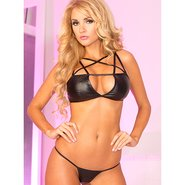 Pink Lipstick Hot Pursuit Pleather Cage Bra Set