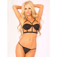 Pink Lipstick Half Cup Cage Bra and G-String Set
