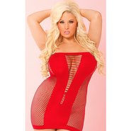 Pink Lipstick Plus Size Play With Me V-Plunge Dress in Red