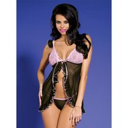 Bondara Pink Frill Babydoll and G-String